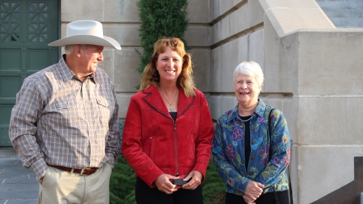 Landowner Plaintiffs Randy Thompson, Suz Straka, and Susan Dunavan morning of Nebraska Supreme Court Oral Argument